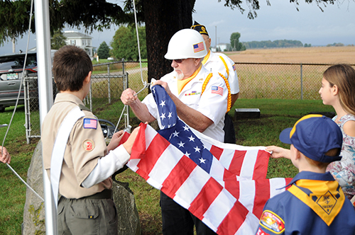 US Flag raised at tiny Lieb Cemetery