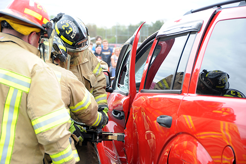 Mock accident teaches students to be careful while driving